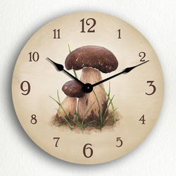 "Porcini ""Penny Bun"" Mushrooms Classic Kitchen Artistic Illustration 12"" Silent Wall Clock"