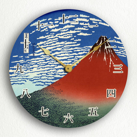 "South Wind, Clear Sky Red Fuji Hokusai Woodblock 12"" Silent Wall Clock"