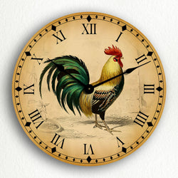 "Rooster Traditional Kitchen Motif 12"" Silent Wall Clock"