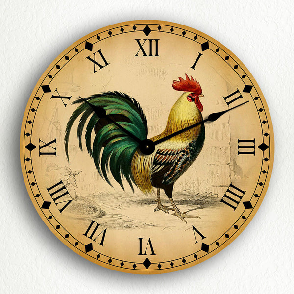 Rooster Traditional Kitchen Motif Silent Wall Clock