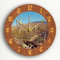"Saguaro Cactus Beautiful Rustic Western Theme 12"" Silent Wall Clock"