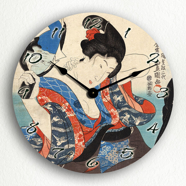 "Shiro Toyokuni Utagawa Woodblock 12"" Silent Wall Clock"