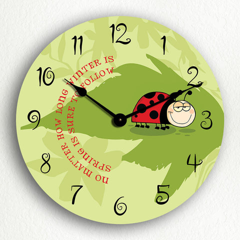 "Ladybug ""Spring Is Sure to Follow"" Silent Wall Clock"