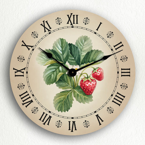 "Strawberries Watercolor Style Artwork Beautiful Country Kitchen Motif 12"" Silent Wall Clock"