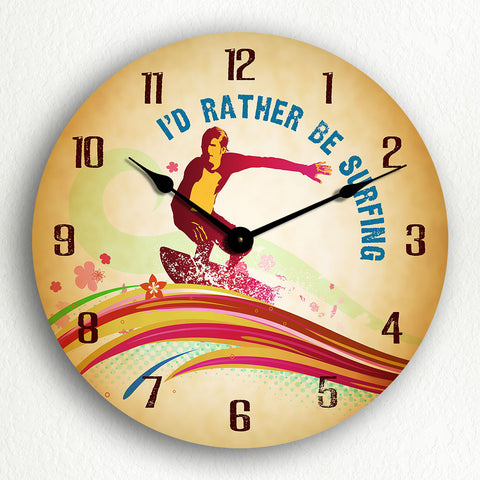 "I'd Rather Be Surfing 12"" Silent Wall Clock"