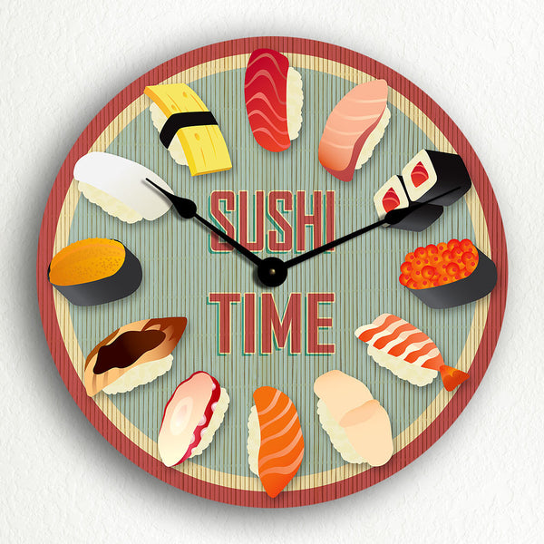 "Sushi Time 12"" Silent Wall Clock"