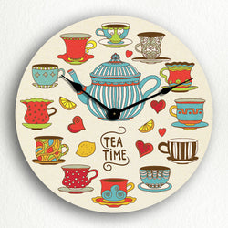 "Tea Time Adorable Teapot and Teacups 12"" Silent Wall Clock"