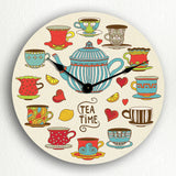 Tea Time Adorable Teapot and Teacups Silent Wall Clock