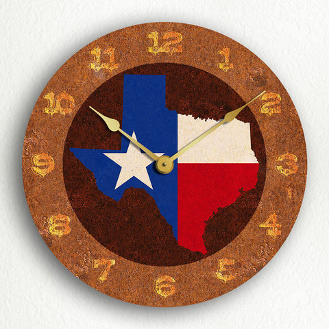 "Texas State Flag Traditional Western Style 12"" Silent Wall Clock"