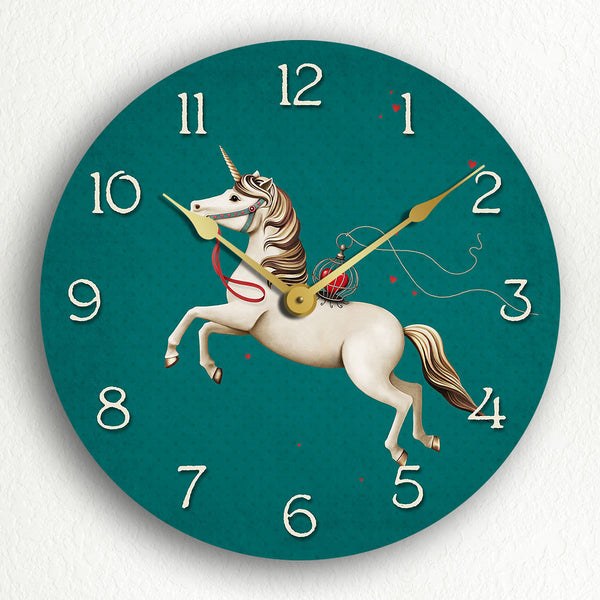 "Unicorn with Hearts Beaufitul Fantasy Motif 12"" Silent Wall Clock"