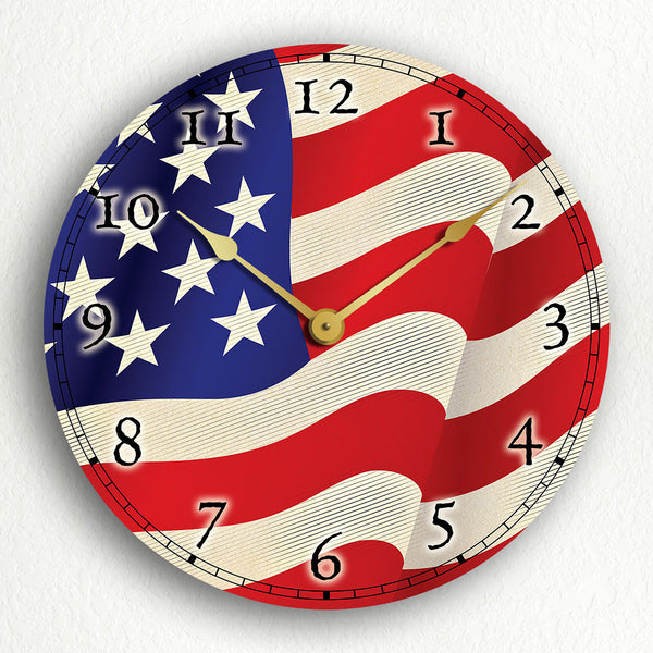 Flag of the United States of America USA American Flag Silent Wall Clock