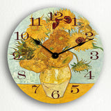 Vase with 12 Sunflowers Vincent van Gogh Silent Wall Clock