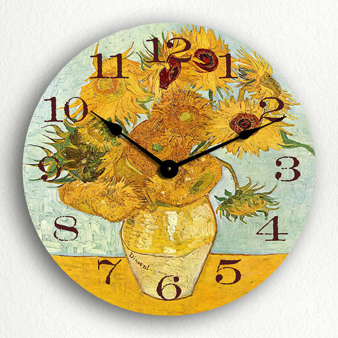 "Vase with 12 Sunflowers Vincent van Gogh 12"" Silent Wall Clock"