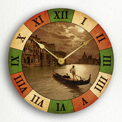 "Grand Canal by Moonlight Venice Italy with Italian Flag Colors 12"" Silent Wall Clock"