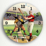 Classic Vintage Baseball Players Silent Wall Clock