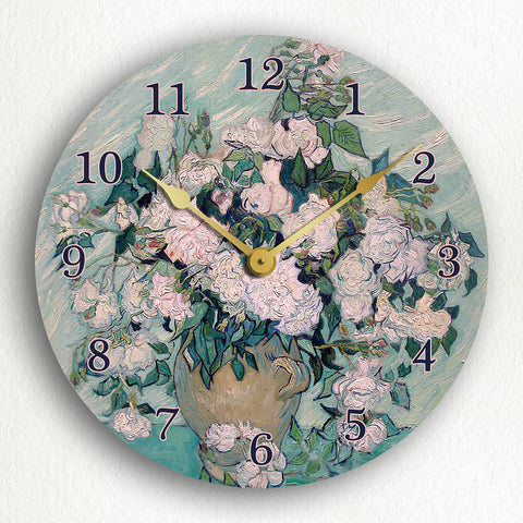 White Roses Vincent van Gogh Silent Wall Clock