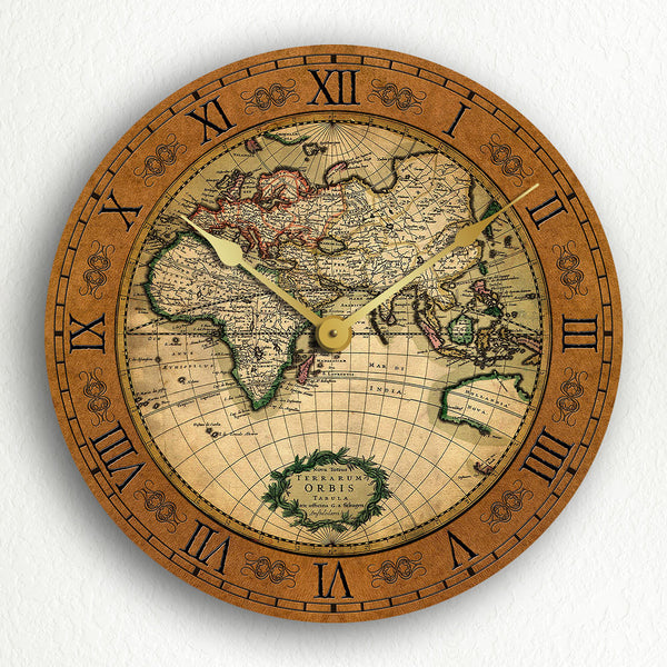 "World Map Gerard van Schagen 17th Century Vintage Style 12"" Silent Wall Clock"