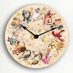 "Signs of the Zodiac Beautiful Astrology Horoscope Themed 12"" Silent Wall Clock"
