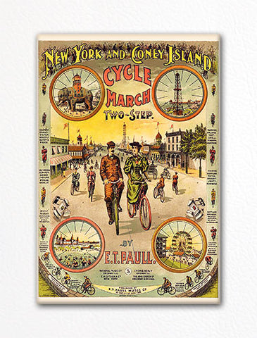 New York and Coney Island Cycle March E. T. Paull Sheet Music Cover Fridge Magnet