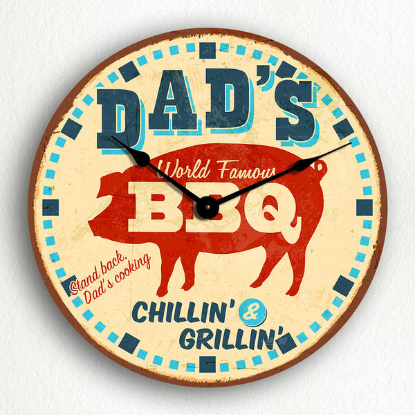 "Dad's BBQ Retro Vintage Diner Sign Style 12"" Silent Wall Clock"
