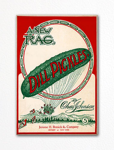 Dill Pickles Rag Sheet Music Cover Fridge Magnet