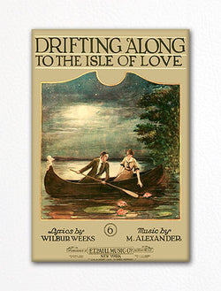 Drifting Along to the Isle of Love E. T. Paull Sheet Music Cover Fridge Magnet