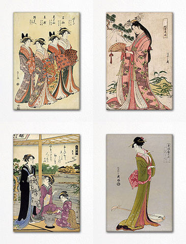 Eishi Hosoda Woodblock Print Fridge Magnet Set
