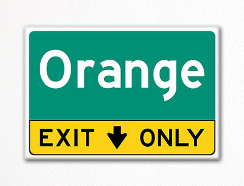 Orange Exit Only Sign Souvenir Fridge Magnet