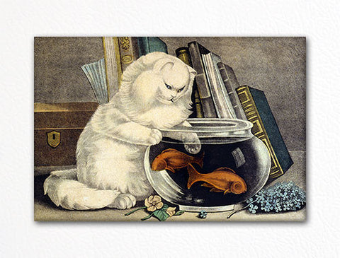 Fishing Cat Classic Illustration Fridge Magnet