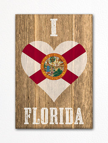 I Love Florida Flag Heart Fridge Magnet