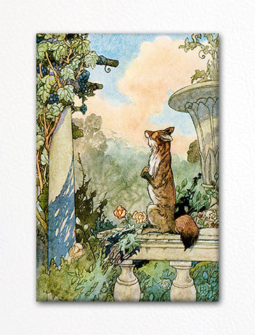 The Fox and the Grapes Illustration Fridge Magnet