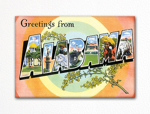 Greetings from Alabama Souvenir Fridge Magnet