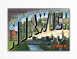 Greetings from Norwich Conn Fridge Magnet