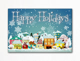 Happy Holidays Winter Village Festive Fridge Magnet
