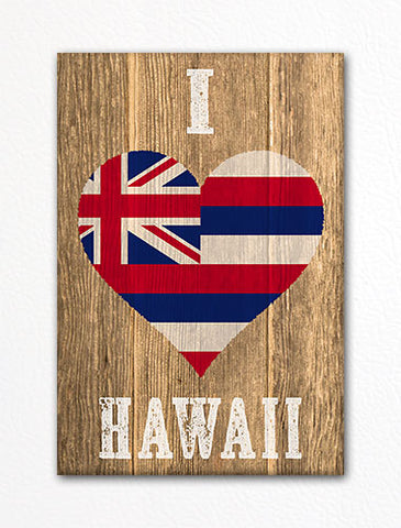 I Love Hawaii Flag Heart Fridge Magnet