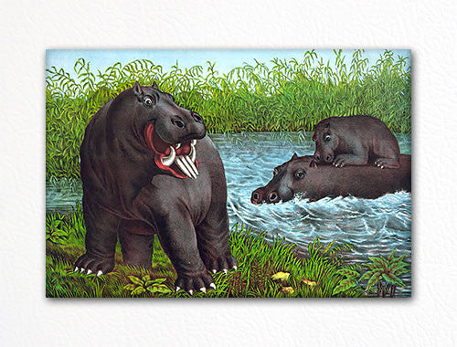 Hippopotamus Family Fridge Magnet