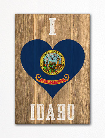 I Love Idaho Flag Heart Fridge Magnet