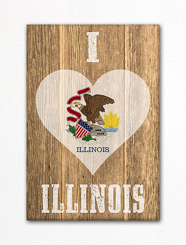 I Love Illinois Flag Heart Fridge Magnet