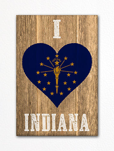 I Love Indiana Flag Heart Fridge Magnet