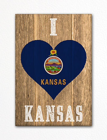 I Love Kansas Flag Heart Fridge Magnet