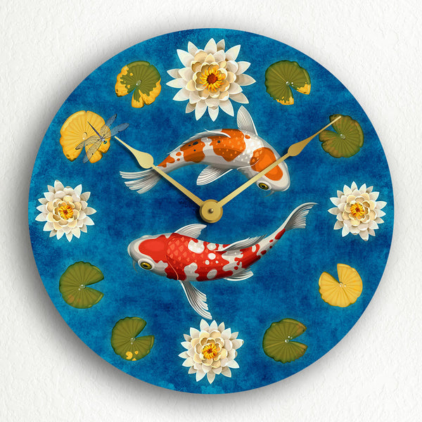 "Koi Fish in Pond Beautiful Japanese Style 12"" Silent Wall Clock"