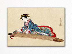 Lady Playing the Koto Japanese Ink Drawing Fridge Magnet