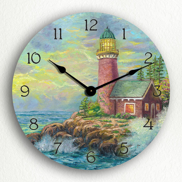 "Beautiful Lighthouse Charming Ocean Themed 12"" Silent Wall Clock"
