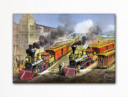 Lightning Express Trains Currier & Ives Fridge Magnet