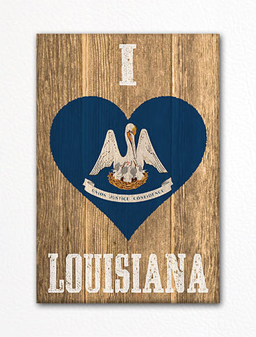 I Love Louisiana Flag Heart Fridge Magnet