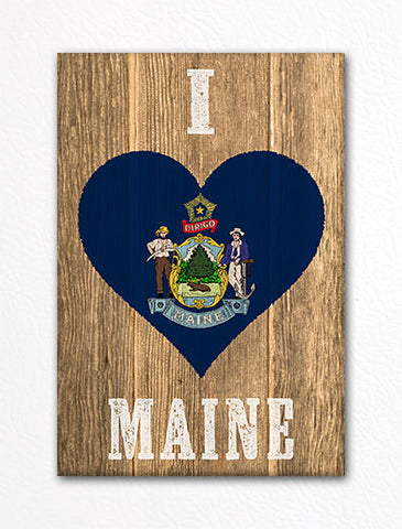 I Love Maine Flag Heart Fridge Magnet