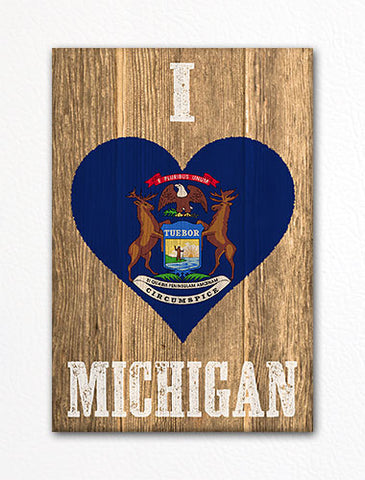 I Love Michigan Flag Heart Fridge Magnet