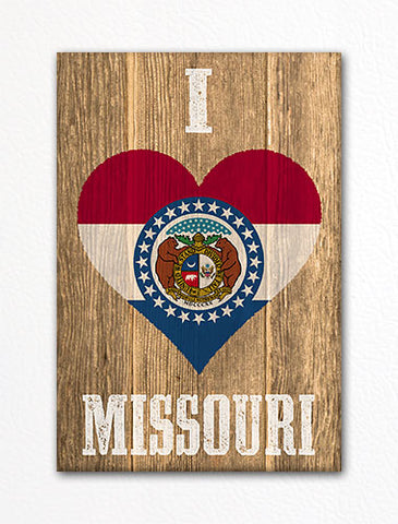 I Love Missouri Flag Heart Fridge Magnet