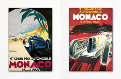 Monaco Grand Prix Advertising Poster Fridge Magnet Set