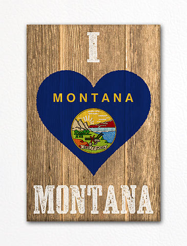 I Love Montana Flag Heart Fridge Magnet